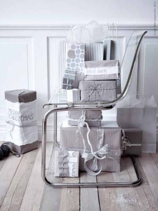 neutral/gray IKEA wrapping paper