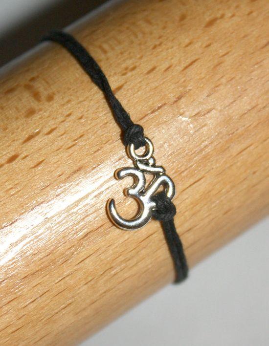 Silver Om Karma Bracelet Wish Bracelet in Black by SoJewelrySoYou, $2.50 #om #aum #yoga #karma #bracelet #wish