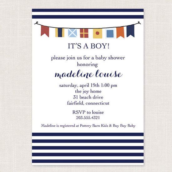 Nautical Flag Baby Boy Shower Invitations by ShorelyChic on Etsy, $25.00