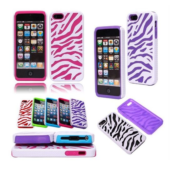 HOT Zebra Double-layer Back Case Cover for iPhone 5