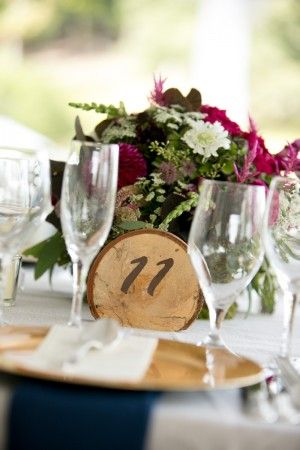 Round bark reception table markers
