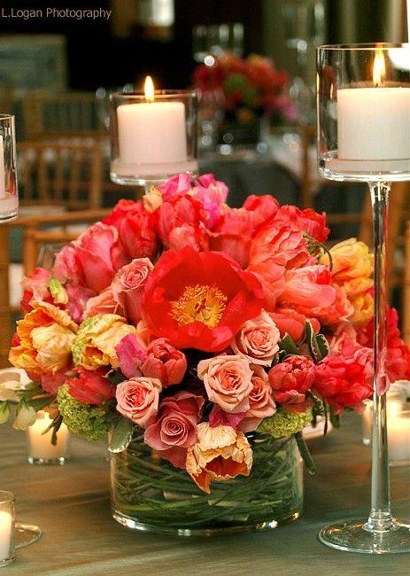 Parrot tulips,coral peony,viburnum centerpiece.....