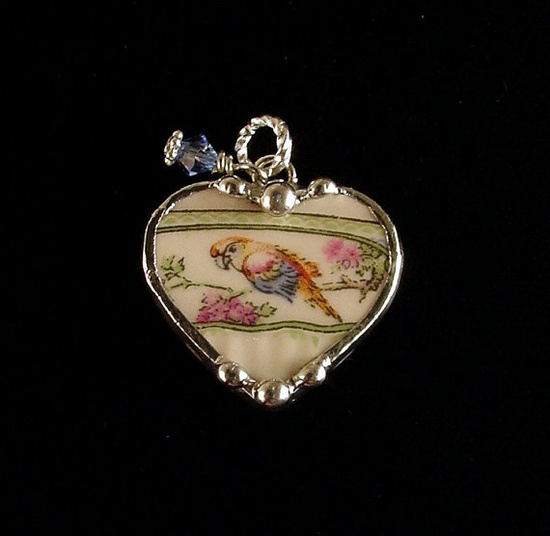 broken china jewelry parrot heart