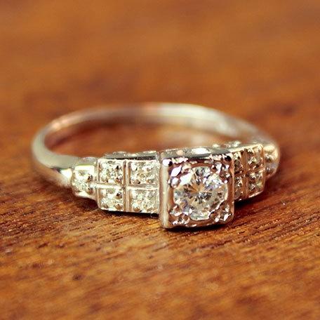 Cornelia Diamond Vintage Engagement Ring  by TurtleLoveCo - Etsy