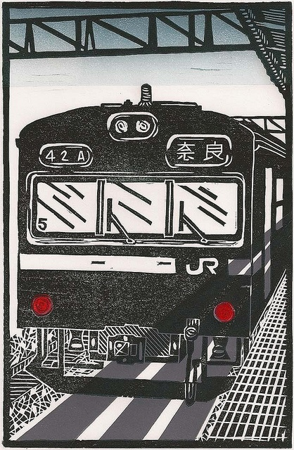 Boarding All Rows - Japan by JR Train (Original Linocut Travel Poster)
