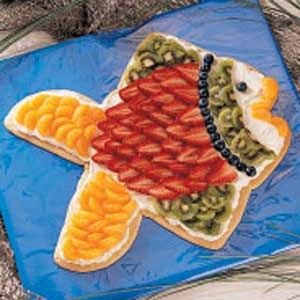 Fruited Fish -sugar cookie covered with cream cheese and fruit