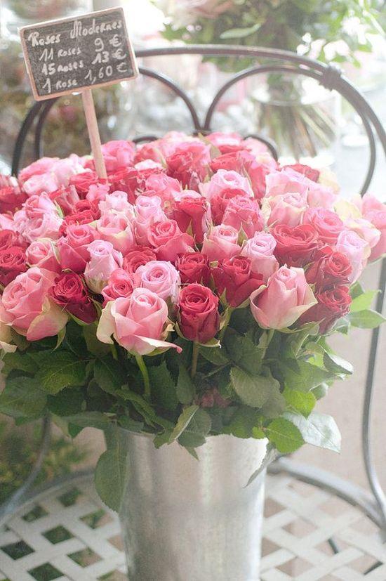 Pink roses - flower market