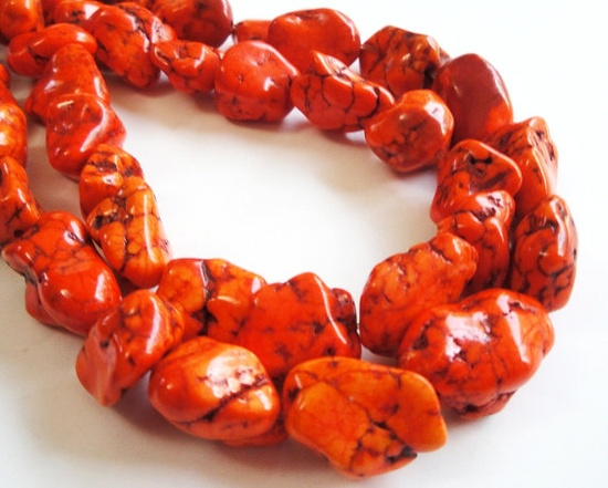 Fall  Orange Magnesite Turquoise Chunky Nugget Beads by BijiBijoux, $8.25