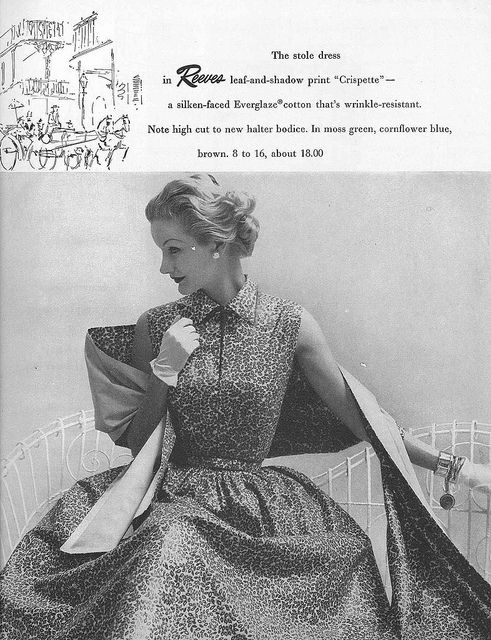 Love the matching wrap (with the pattern worn inward, to boot!). #vintage #fashion #1950s #dress
