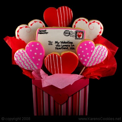 Valentine heart cookies basket with love letter.  So cute!