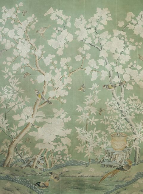 "Gracie wallpaper. ""A classic design based on an antique wallpaper owned by Pauline de Rothschild. This is the design Tory [Burch] chose for her own home, although every order we create is different, designed specifically for the space and per clients' requests."""