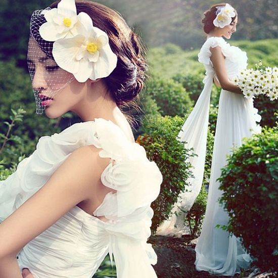 Elegant One Shoulder Handmade Flowers Design Chiffon Flounce Hem Wedding Dress (WHITE,14)