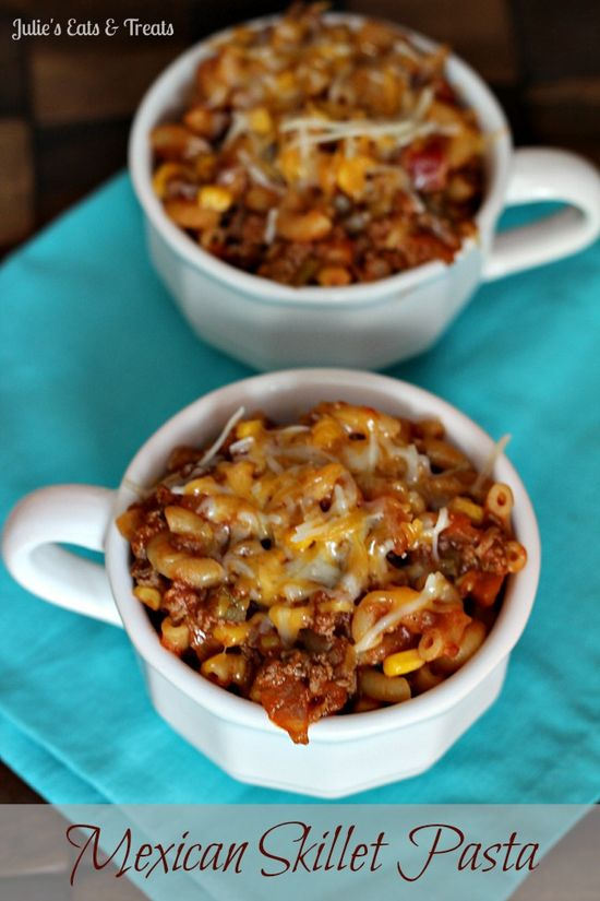 Mexican Skillet Pasta ~ Fabulous pasta with a kick that comes together only using one skillet! via www.julieseatsand...