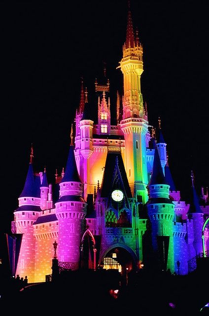 Cinderella Castle rainbow of lights