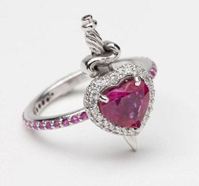 18ct White Gold Ruby and Diamond Heart with Dagger Ring. $7,500.00, via Etsy.
