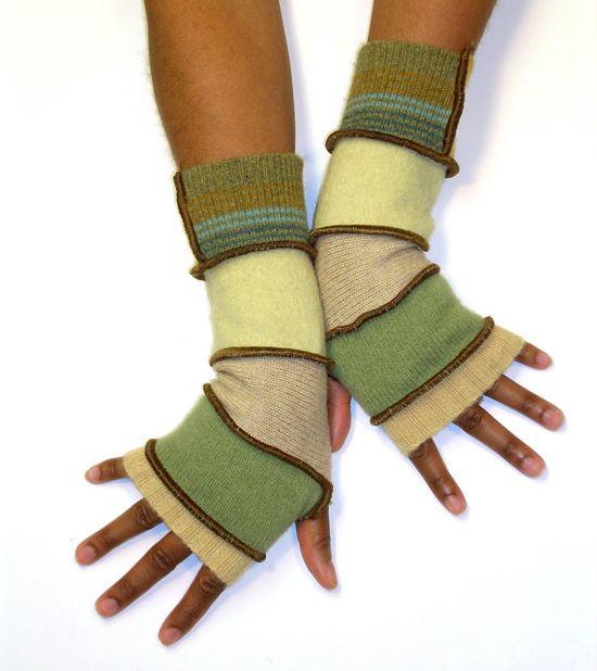 Finger less Gloves, Arm Warmers, Light Green and Tan (Beige, Sage, Tan, Lemon Grass, Color Blocked Stripe and Gold), Brenda Abdullah Designs /// TAFA Market, Green Collection /// www.tafaforum.com...