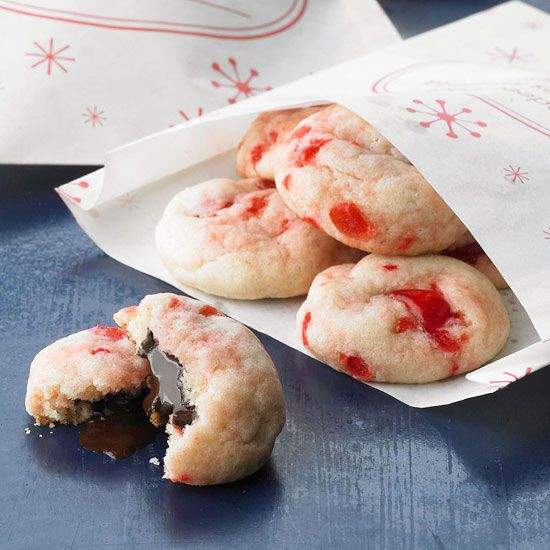 Cherry Surprise Crinkles - a cherry cookie with a a chocolate filling!? Yes, please! More cookie ideas: www.bhg.com/...