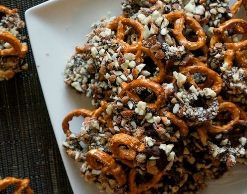 Add some well deserved sweetness to pretzels and spice and crank out some Cayenne Chocolate Almond Covered Pretzels.