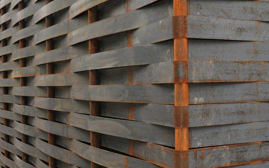 woven steel facade