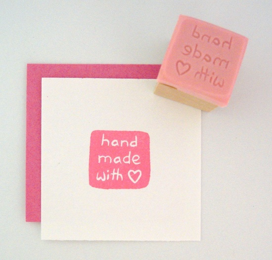 MINI Hand Made with Love Hand Carved Rubber Stamp