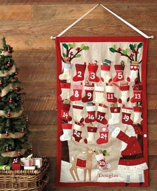 2013 Christmas stockings Hanging storage bag DIY advent calender ideas, Christmas countdown, 2013 Christmas Creative handmade home decor #2013 #Christmas #countdown #Hanging #storage #bag #DIY #Christmas #advent #calendar #ideas www.loveitsomuch.com