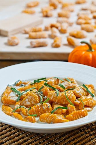 pumpkin gnocchi in a creamy gorgonzola sauce.