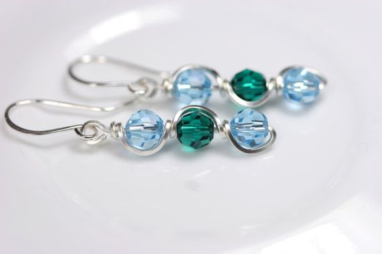 Aquamarine Earrings Wire Wrapped Jewelry by JessicaLuuJewelry, $27.00