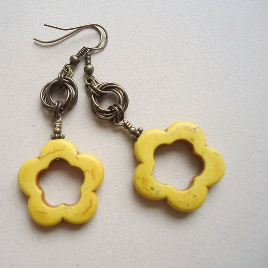 Yellow Earrings Flower Earrings Turquoise Jewelry Brass by cdjali, $14.00