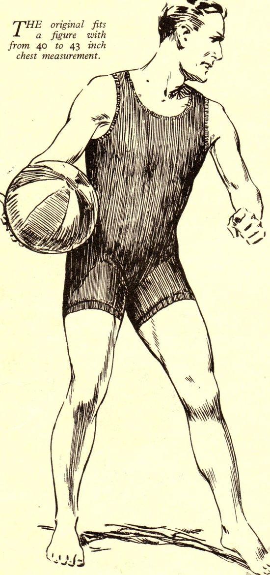 Vintage 1930s mans swimming costume knitting pattern