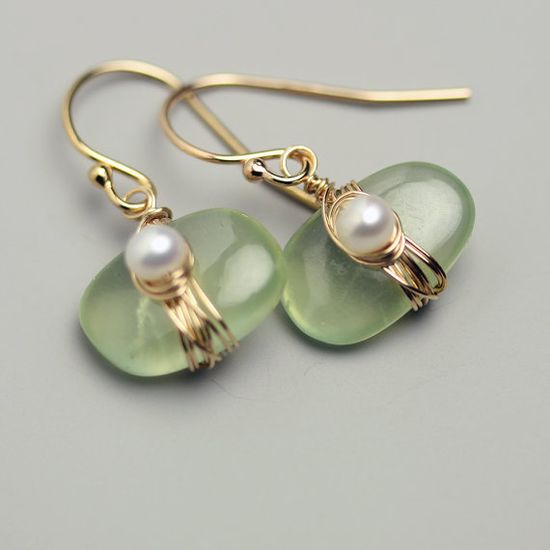 Prehnite Pebble Earrings with Wire Wrapped by fussjewelry on Etsy, $44.00