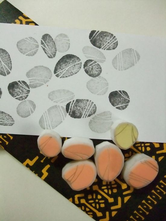 PEBBLES hand carved rubber stamps - handmade rubber stamp