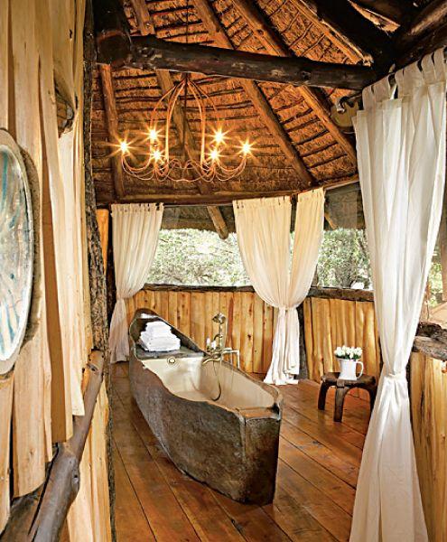 Whoa!  It's like a canoe-bath!  :)  Love this room... #Design #Natural #Bath