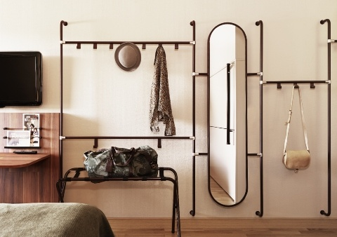 Hallway stand - coat hooks and mirror wall mounted unit