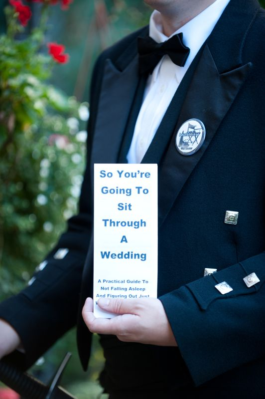 """So you're going to sit through a wedding"" -- funniest wedding program!"