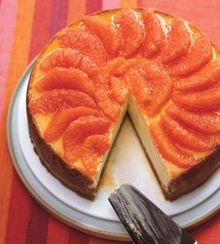 // Ginger & Pink Grapefruit Cheesecake