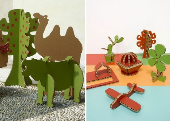Cardboard cutouts as animals! This is such a cheap project