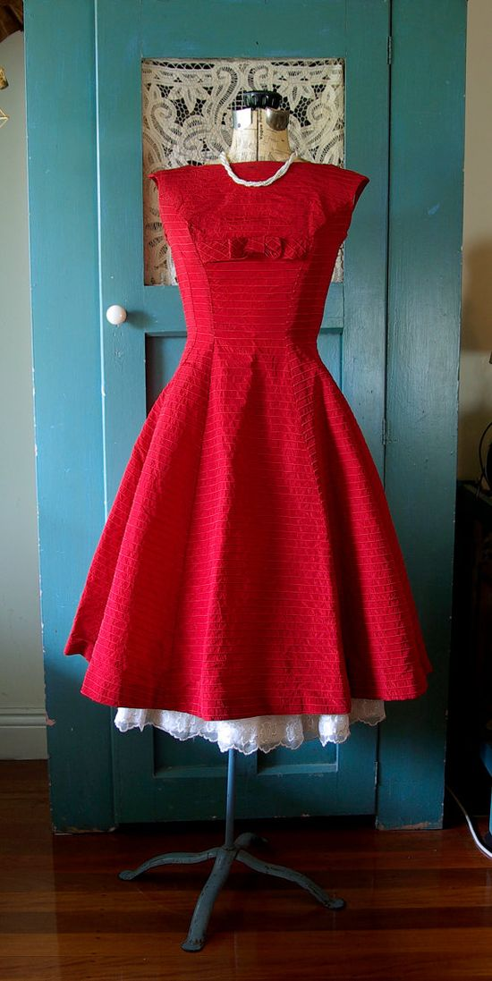 Stunning vintage 1950's Scarlett Red Cocktail Dress with boat neck