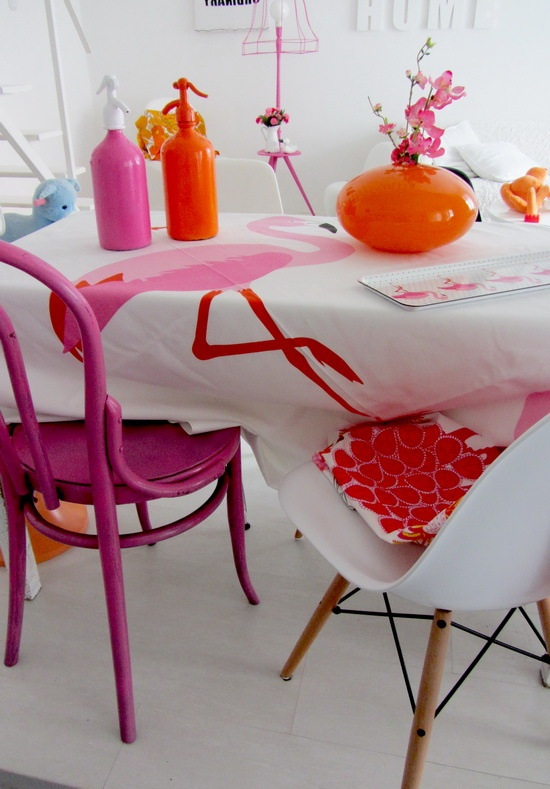 Decoration in pink and orange