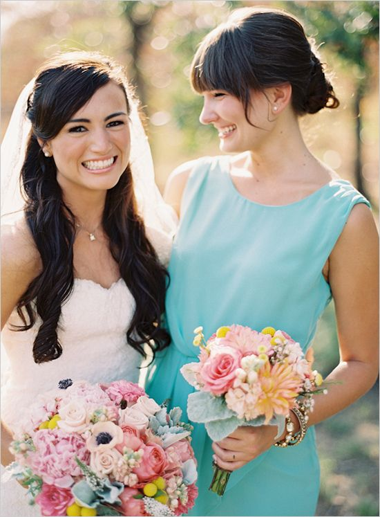mixed pink, yellow and dusty miller wedding bouquet