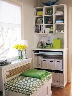 Office cubby with lots of organized storage