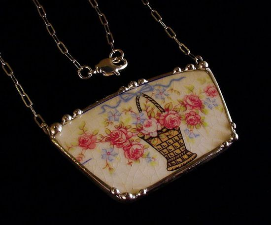 Broken china jewelry necklace by Dishfunctional Designs. pink roses