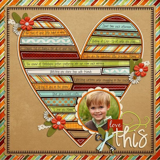 """Love This"" scrapbook page layout"