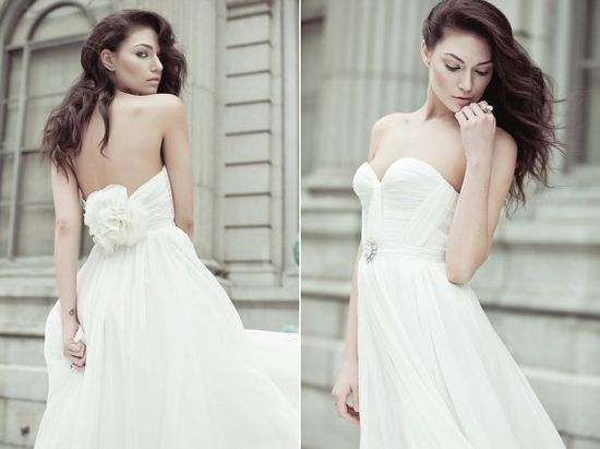 Natural White Annie Wedding Gown Silk Hand Gathered Bustier Gown