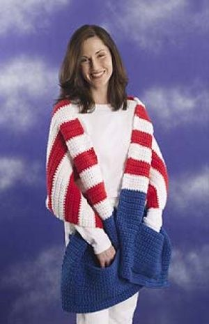 Patriotic Pocket Wrap, crochet free download pattern by Lion Brand.