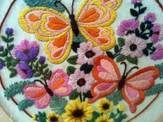 pretty crewel embroidery