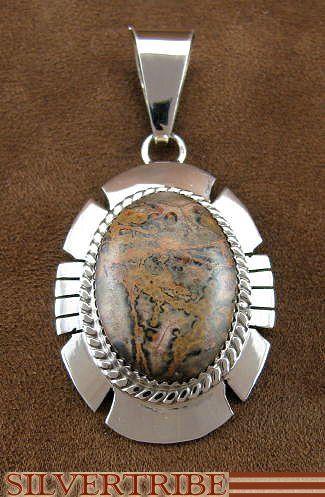 Native American Jewelry Sterling Silver Leopard Skin Pendant