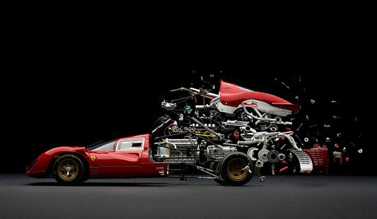 Swiss artist Fabian Oefner created these meticulously handcrafted images of classic sports cars, exploded, dissembled and dismantled in space. 1961 Jaguar E-type.