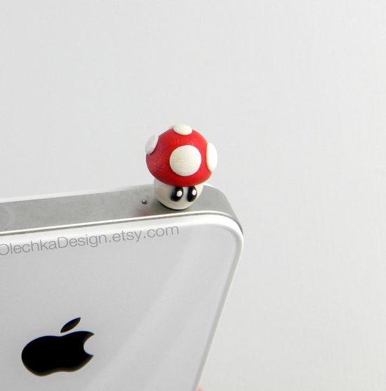 iPhone Dust Plug Nintendo Mario Mushroom Pluggy by OlechkaDesign, $8.00
