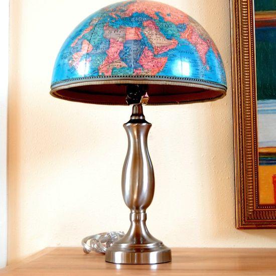 Upcycled globe lamp. #DIY #decor #yes
