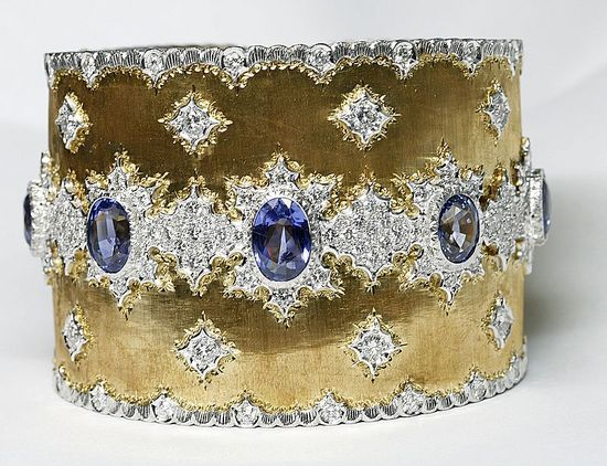 Mario Buccellati 18k sapphire and diamond 2 inch wide cuff bracelet.